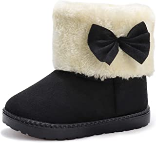 PANDANINJIA Girls Boys Boot Warm Winter Flat Shoes Kids Ankle Calf Snow Boots(Toddler/Little Kid)