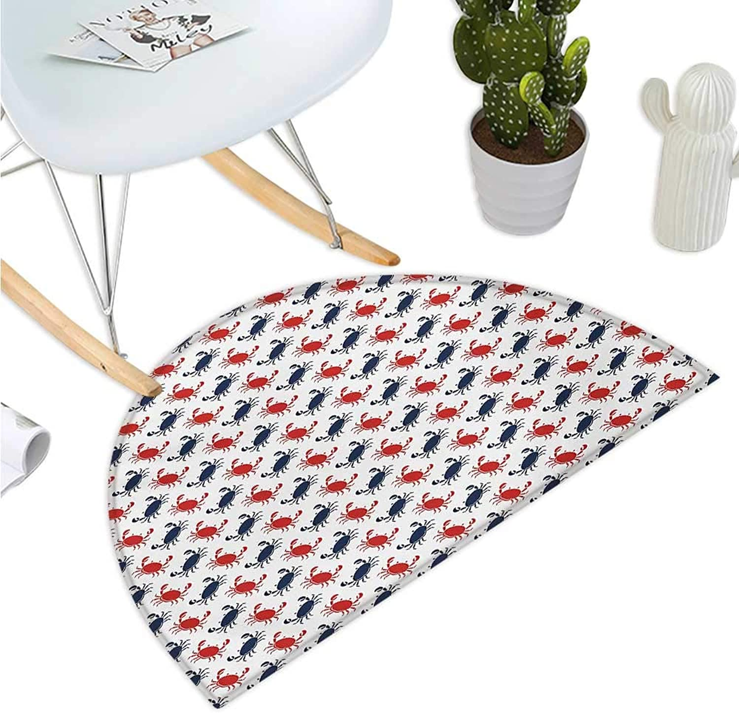 Crabs Semicircular Cushion Sea Animals Theme Crabs on The White Background with Vintage Style Pattern Print Bathroom Mat H 43.3  xD 64.9  bluee and Red