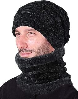 Winter Beanie Hat Scarf Set Warm Thick Knit Hat Skull Cap for Men Women