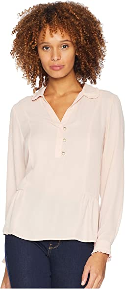 Long Sleeve Scallop Collar Pearl Button Up Blouse