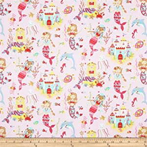 STOF France Mermaid Fabric, Rose, Fabric By The Yard