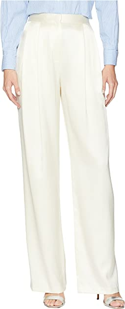 Silk Charmeuse Pleat Front Trousers