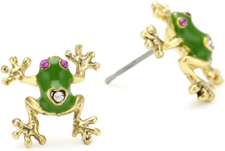 5 ☆ very popular Betsey Johnson Green Gold Stud Frog Mail order Earrings