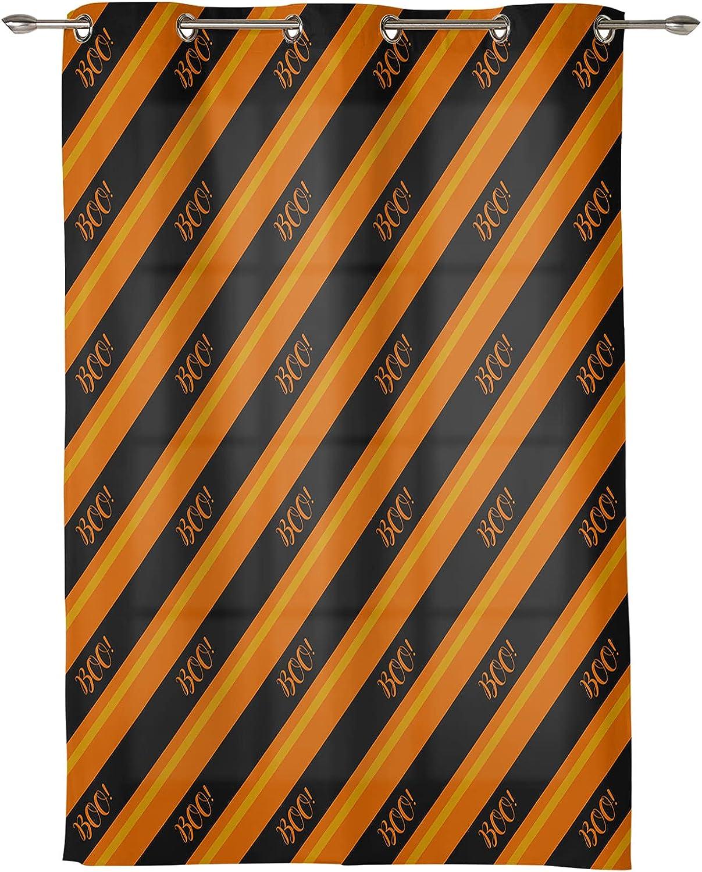 New mail order Window Curtain Panel Orange Black Geometric Stripes Dec Printing Columbus Mall