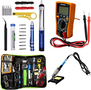 Soldering Iron Kit 60W Adjustable Temperature Welding Tool, Digital Multimeter, 2pcs Soldering Iron Tips, Desoldering Pum...