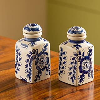 ExclusiveLane The 'Indigo Pictured' Mughal Hand-Painted Ink Blue Air Tight Multi Utility Storage Ceramic Jars (5.6 Inch, 300 ML, Set Of 2) (Handmade and Handcrafted In India)-Food Storage Containers