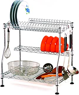 Sink Dish Drying Rack, 3-Tier Adjustable Large Dishes Rack with Removable Drain Board, Kitchen Folding Dish Rack & Plate Holder, Rustproof Stainless Steel, Sturdy Chrome Dish Drainer Organizer