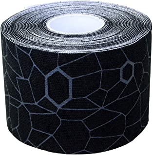 TheraBand Kinesiology Tape, Waterproof Physio Tape for Pain Relief, Muscle & Joint Support, Standard Roll with XactStretch Application Indicators, 2 Inch x 16.4 Foot Roll, Black/Gray