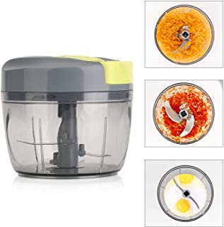 Magiclux Tech Manual Food Chopper, Vegetable Processor Handheld Speedy Onion Chopper Fruits Shredders & Slicers, with Big Mixing Blade, 3 Sharp Stainless Steel Blade(750 ML)
