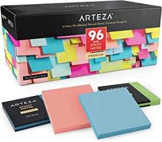 ARTEZA 3x3 Inches Sticky Notes, 96 Pads, 100 Sheets Per Pad, Bulk Pack, Assorted Colors, Re-Adhesive, Clean Removal, for Reminders, Studying, Office, School, and Home