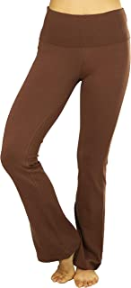 ToBeInStyle Women's Premium Cotton-Blend Fold Over Yoga Flare Pants