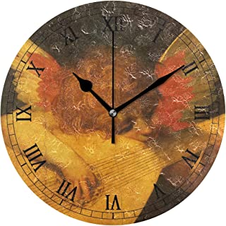 MIKAルネサンス芸術 ミュージシャン 天使 掛け時計 置き時計 兼用 インテリア 連続秒針 壁掛け時計 静音 寝室 部屋 壁掛時計 おしゃれ 25cm 掛時計