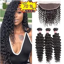WENYU Brazilian Virgin Deep Wave Human Hair 3 Bundles with Frontal Lace Closure 13x 4 Ear to Ear Lace Frontal with Bundles Weave Natural Black(Deep 12 14 16+10 Frontal, Deep Wave Bundles with Frontal)