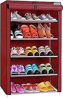 FLIPZON Premium 5-Tiers Shoe Rack/Multipurpose Storage Rack with Dustproof Cover (Iron Pipes, Non Woven Fabric, Plastic Co...