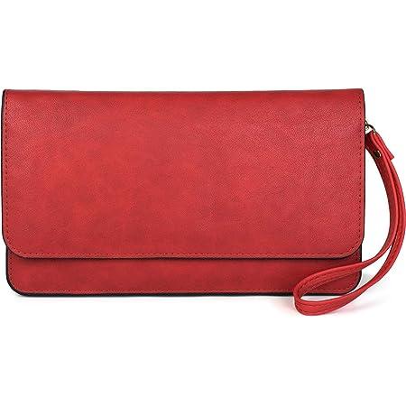 styleBREAKER Bolsón de Damas con Solapa y Correa de Transporte, Bolso de Noche, Cartera 02012259, Color:Rojo