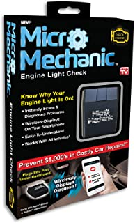 Ontel Micro Mechanic | ODB2 Portable Check Engine Car Code Reader Diagnostic Tool Scanner| Bluetooth Wireless, Compatible for iOS & Android, As Seen on TV