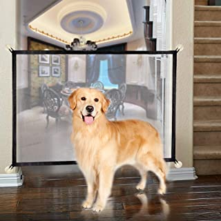 Updated Magic Gate Portable Folding Pet Gate Safe Guard Isolated Gauze Indoor and Outdoor Safety Gate Install Anywhere for Dogs