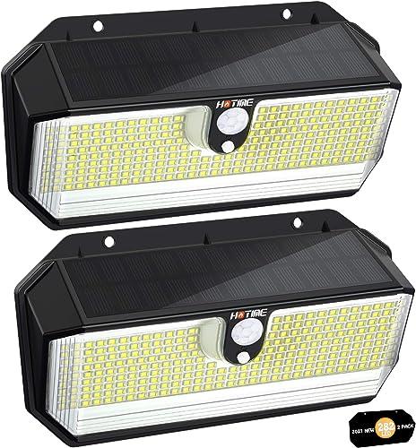 Lampe Solaire Éxtérieur, [282 LED-2600 Lumens] HOTIME Lumière Solaire Sécurité avec Détecteur de Mouvement, 3 Modes d...
