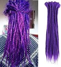 Dsoar Synthetic Dreads 20 Inch 12 Strands Dreadlocks Extensions Handmade Crochet Braiding Hair (Ⅱ Purple)