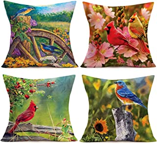 Smilyard Throw Pillow Case Vintage Red BirdCardinal with Sunflower Floral Throw Pillow Covers Watercolor Cute Animal Cushion Cover Cotton Linen Decorative Outdoor for Sofa 18x18 Inch(Bird Flower Set)