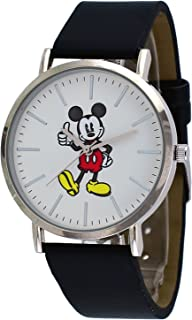 Disney MK1521 Unisex Silver Tone Black Band Minimalist Styling Mickey Mouse Thumbs Up Watch