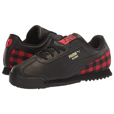 Puma Kids Roma Leather Leather Flannel PS (Little Kid) (Puma Black/Puma Team Gold/Ribbon Red) Kids Shoes
