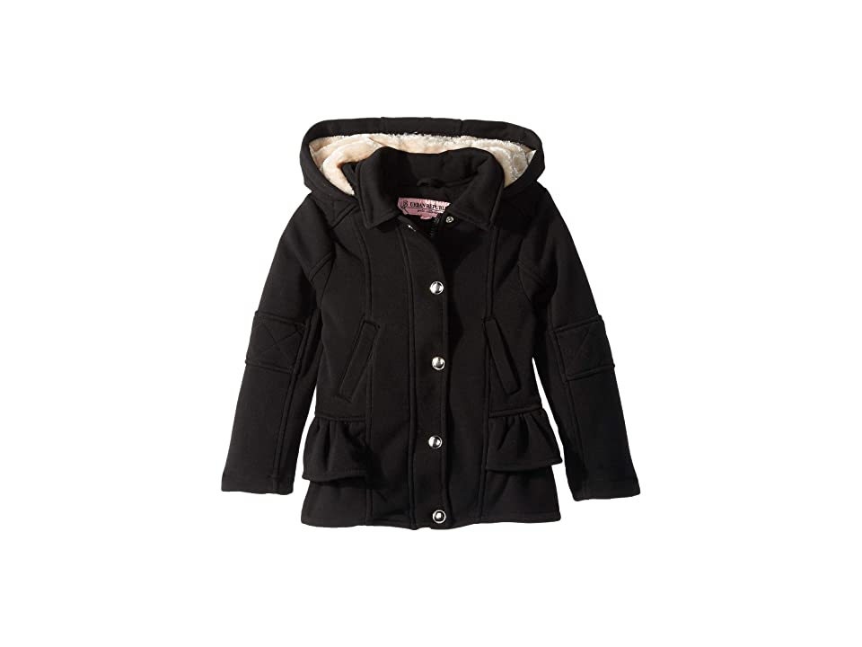 Urban Republic Kids Elena Fleece Hooded Jacket w/ Ruffles (Little Kids/Big Kids) (Black) Girl