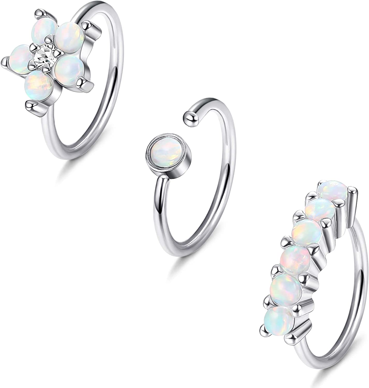 LOYALLOOK 3Pcs 316L Surgical Steel Opal Glitter Nose Ring Piercing Hoop Ring for Nose Cartilage Earring Set
