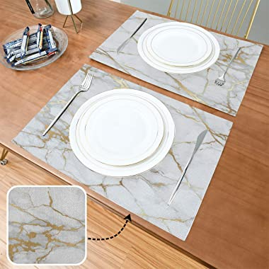 One Bear Marble Placemats White and Gold Texture Placemat Table Mats Non Slip Heat Resistant Placemats for Dining Table Kitch