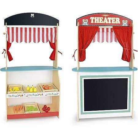 Leomark Jouet 2in1: Marché et théâtre de Bois + Produits Alimentaires en Bois, Jeu D'Imitation - Commerçant, Jouets de Rôle pour Enfants