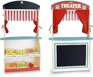Leomark Jouet 2in1: Marché et théâtre de Bois + Produits Alimentaires en Bois, Jeu D'Imitation - Commerçant, Jouets de Rôl...
