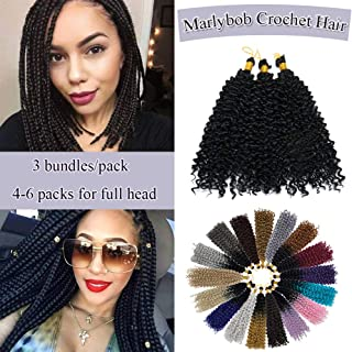 Marlybob Crochet Braids Hair Extensions Synthetic Deep Water Wave Marlibob Hairpiece Afro Jerry Curl Kinky Curly Twist Braiding Weave Hair For Black Women (14'',Natural Black)