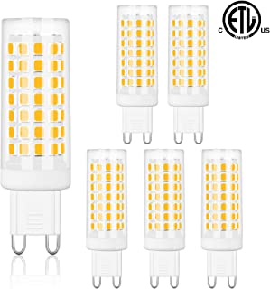 Comzler G9 LED Bulbs Bi Pin Base 6W Soft White 3000K - G9 Base Bulbs, 60W Halogen Equivalent, 550LM, G9 Soft White Bulbs for Home Lighting, Non-dimmable, Pack of 6