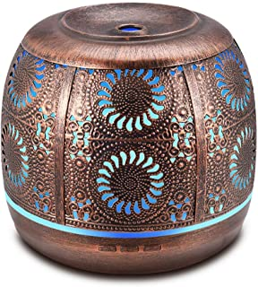 Metal Diffusers for Essential Oils, 500ml Large Aromatherapy Diffuser Red Bronze, Ultrasonic Diffuser Humidifier with 7 Color LED Lights for Home Decor, Office, Kitchen, Baby Room, Gift Idea