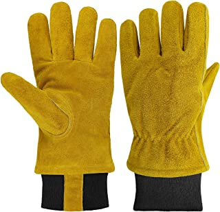 OLSON DEEPAK Waterproof Leather Work Gloves, 1 Pairs Thorn Proof Winter Gardening Gloves with soft Polar Fleece cotton, Heavy Duty Rigger Gloves for Snowing,Gardening, Fishing, Construction and Restor