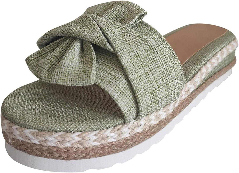 Sandals for Women Platform,Comfy Kont Bow Flatform Sandal Shoes Beach Summer Travel Fashion Roman Shoes