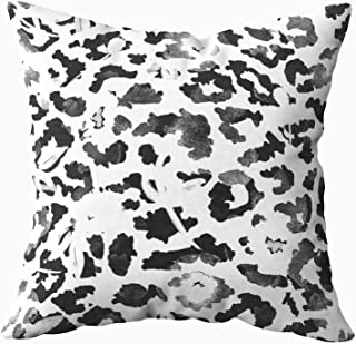 Musesh Sofa Zip Pillow Covers, Drawn Watercolor Abstract Leopard Print and Flowers Pattern Isolated Background for Sofa Home Decorative Pillowcase 20X20Inch Pillow Covers