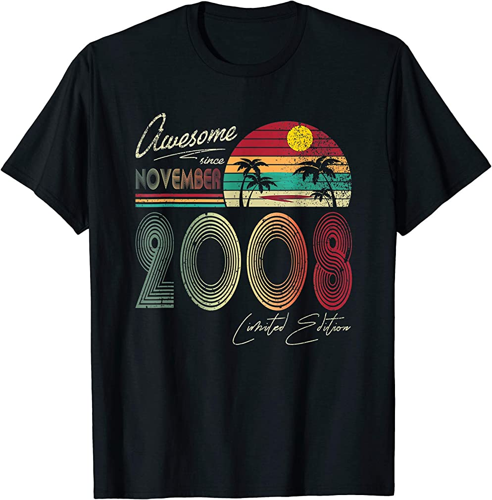 Awesome Since November 2008 11th Birthday Gift 11 Yrs Old T-shirt