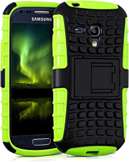 kwmobile Hybrid case with Stand for Samsung Galaxy S3 Mini i8190 in Neon Green