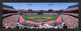 Spectators Watching a Baseball Match, Dodgers vs. Yankees, Dodger Stadium, City of Los Angeles, California, USA by Panoramic Images Framed Art Print Wall Picture, Espresso Brown Frame, 38 x 15 inches
