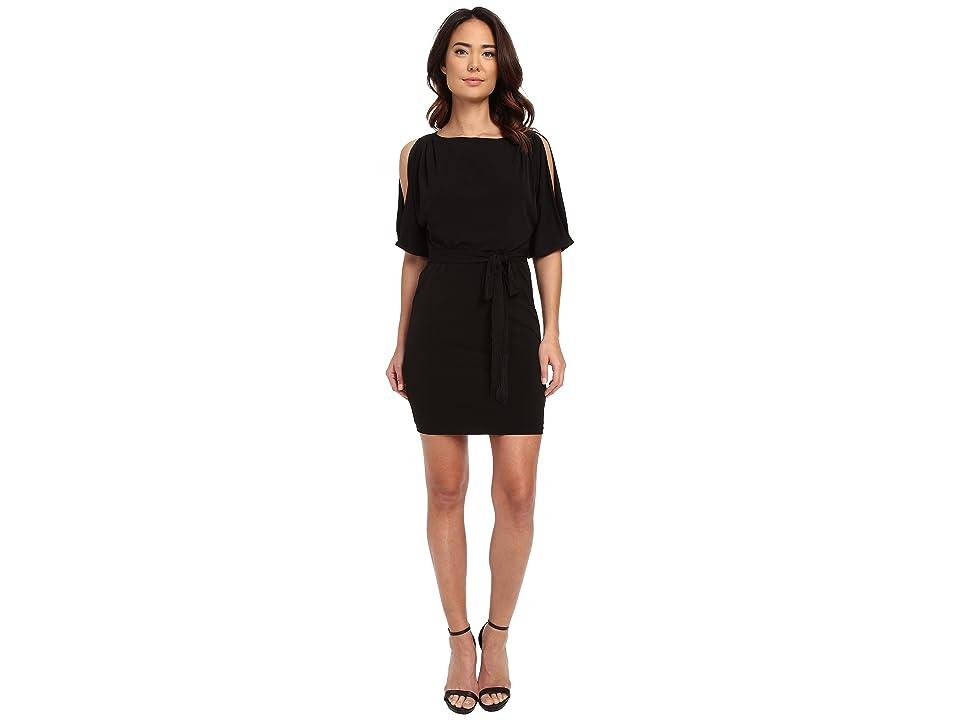 Jessica Simpson Boat Neck Ity Dress with Self Sash (Black) Women