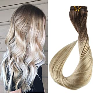 Full Shine 18 Inch 7 Pcs 120 Gram Ombre Color 6B Brown Fading To 613 Blonde Balayage Extensions 100 Remy Human Hair Clip In Extensions Human Real Hair Clip Hair Extensions