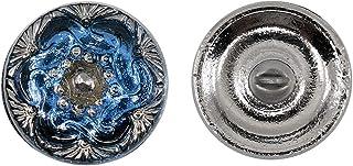 Botones, 1 Pieza, Button prensado Redondo checo con una caña de Metal, tamaño 8 (diámetro 18 mm), Vidrio Bohemio, Pintado a Mano, Deep Pale Blue with Chain Silver Ornament