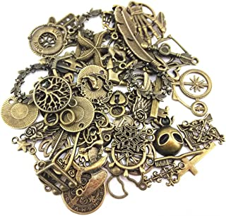 Yueton 100 Gram (Approx 70pcs) Assorted Antique Charms Pendant for Crafting, Jewelry Making Accessory (Bronze)