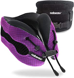 Cabeau Evolution Cool Travel Pillow- The Best Air Circulating Head Neck Memory Foam Cooling Travel Pillow - Purple