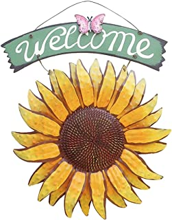 Petforu Vintage Iron Hanging Decorative Sign Yard Front Door Porch Butterfly Sunflower Welcome Sign Old Fashioned Charm