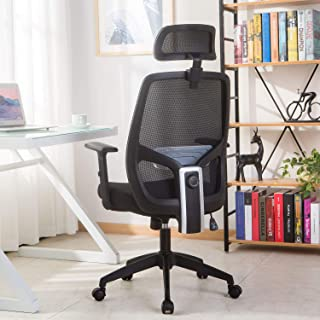 LIANFENG Ergonomic Office Chair, High Back Executive Swivel Computer Desk Chair Breathable Mesh Task Chair with Adjustable Headrest, Lumbar Support and Armrests, Black