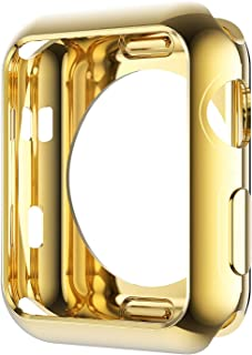 Leotop Compatible con Apple Watch 44mm 40mm Series 5 4 Funda, Suave TPU Protector [Anti-Arañazos] Carcasa de iWatch Cubierta, Slim Protección (44mm ,Oro)