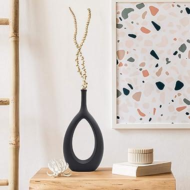 Serdic Ceramic Hollow Vase Modern Decorative Flower Vase for Wedding, Gifts, Kitchen, Living Room or Flower Shop 12.2inch Bla