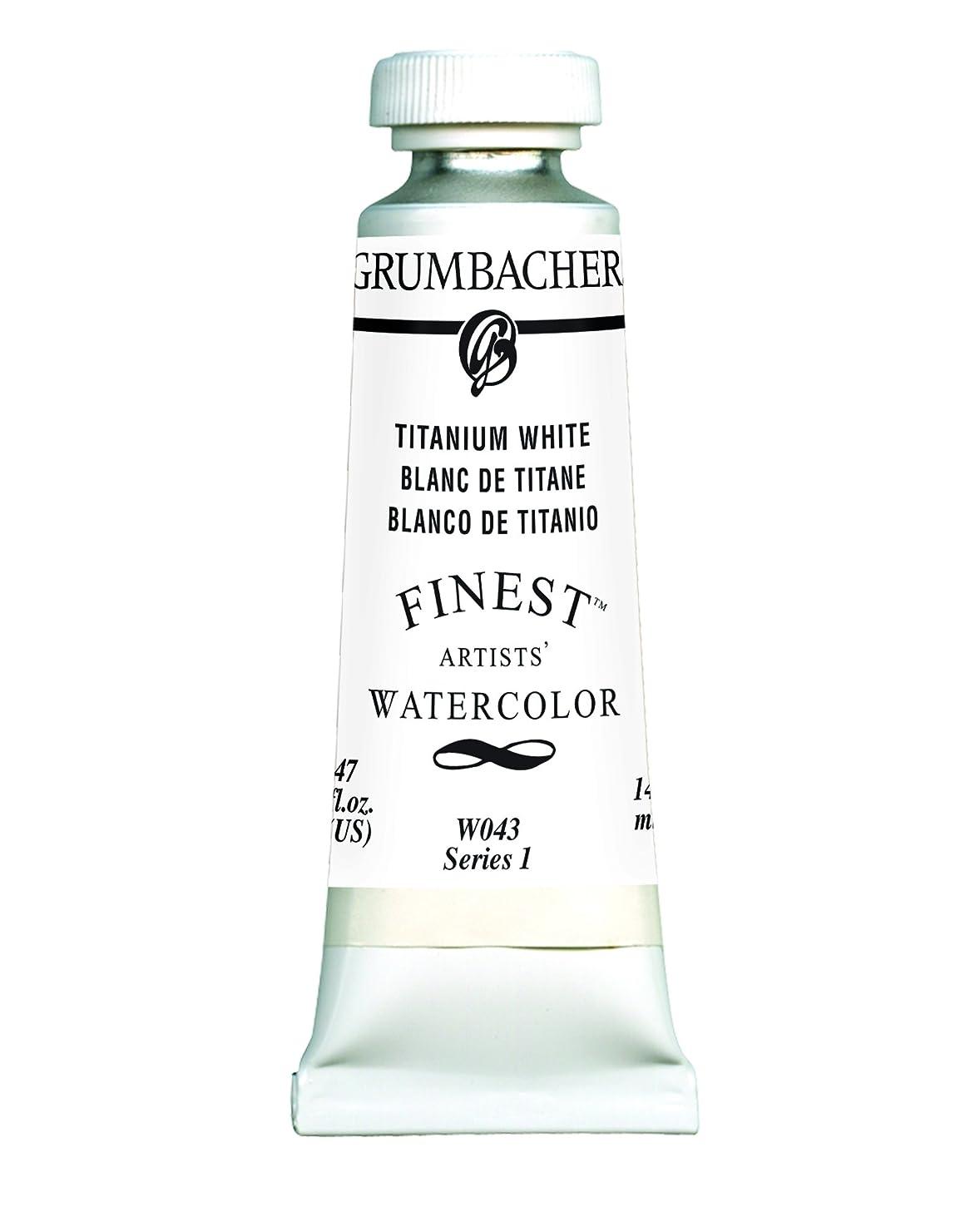 Grumbacher Finest Watercolor Paint, 14 ml/0.47 oz, Titanium White